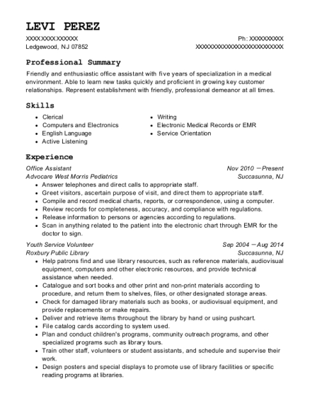 Office Assistant resume template New Jersey