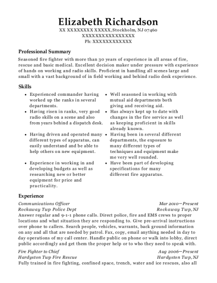 Communications Officer resume example New Jersey