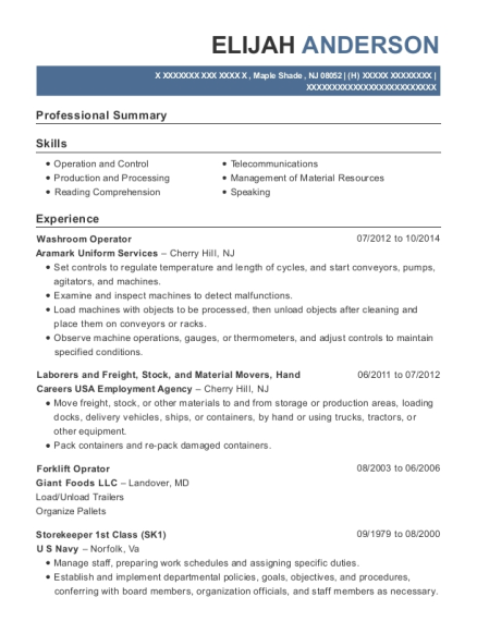 Washroom Operator resume format New Jersey