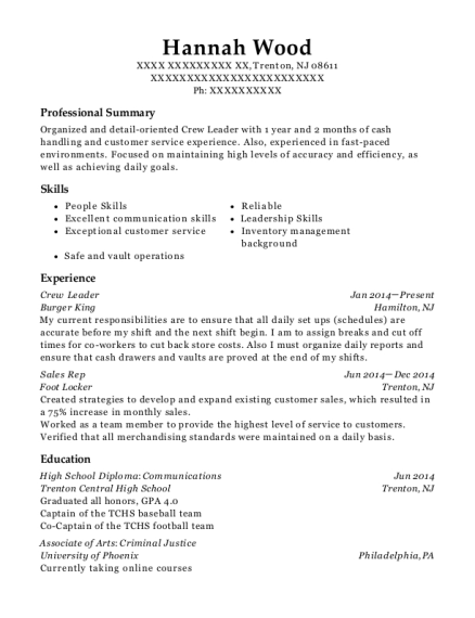 Crew Leader resume template New Jersey