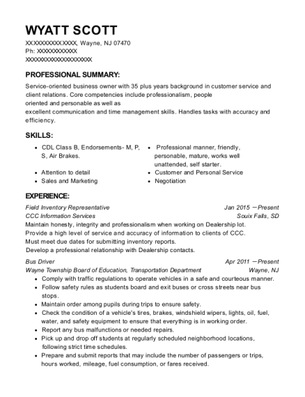 Field Inventory Representative resume template New Jersey