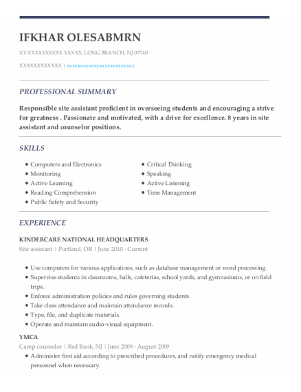 Site Assistant resume sample New Jersey