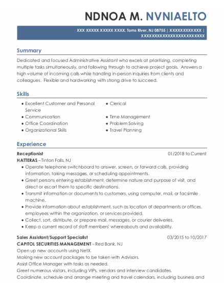 Receptionist resume sample New Jersey