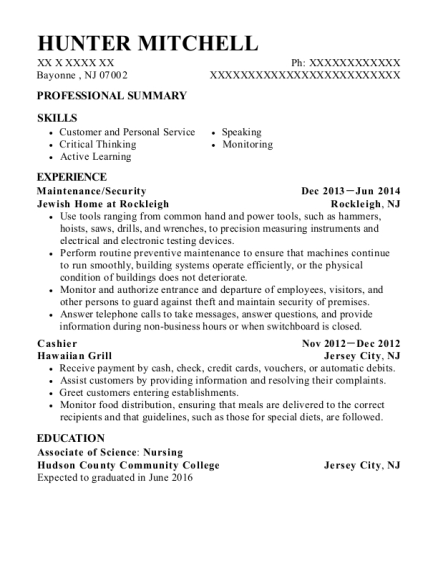 Maintenance resume format New Jersey