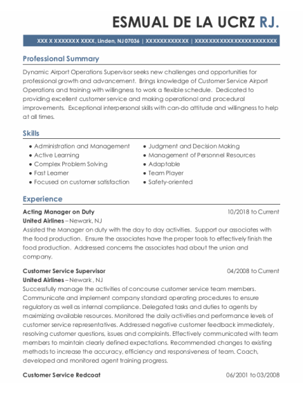 Specialist resume example New Jersey