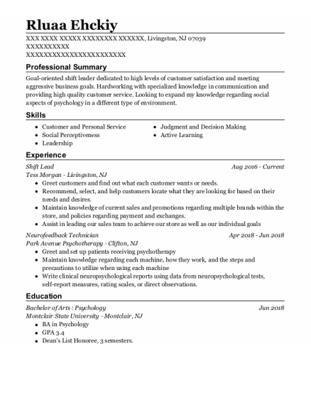 Shift Lead resume template New Jersey
