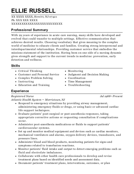 Registered Nurse resume template New Jersey
