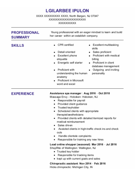 Chiropractic Assistant resume example New Jersey