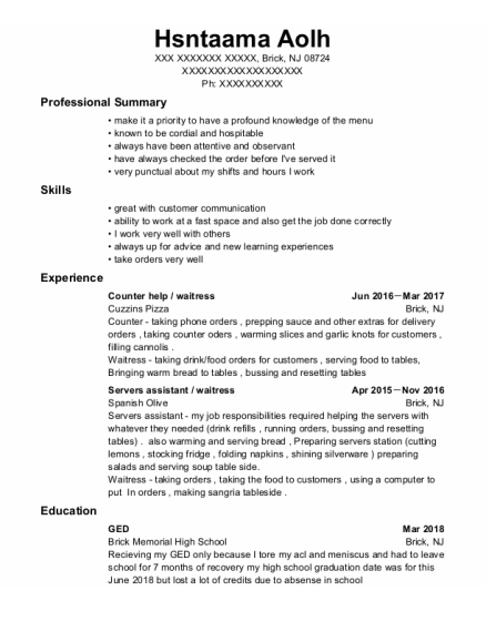 Counter Help resume example New Jersey