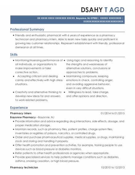 Pharmacy Intern resume template New Jersey