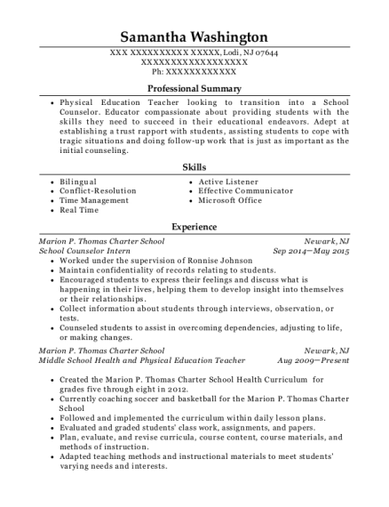 School Counselor Intern resume example New Jersey
