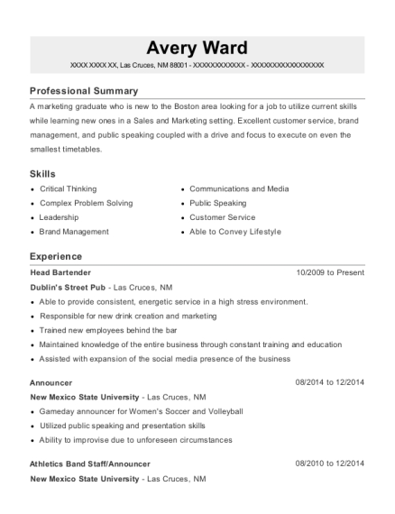 Head Bartender resume template New Mexico