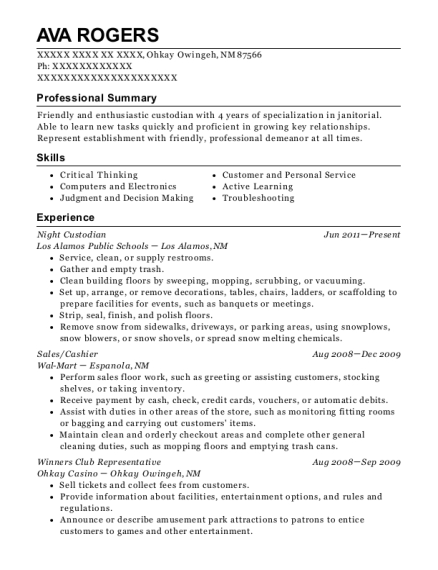 Night Custodian resume template New Mexico