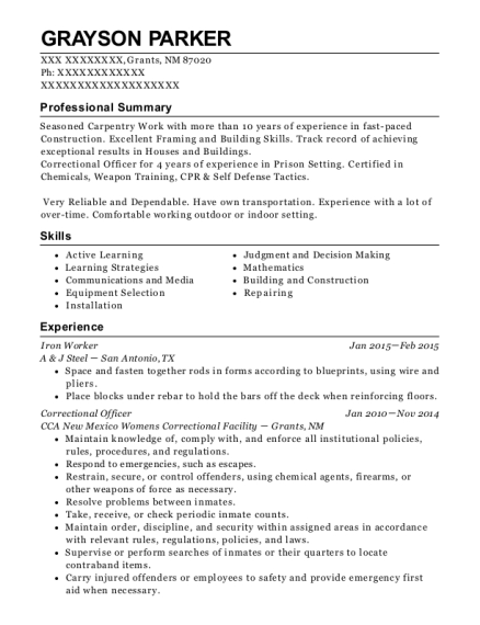 Iron Worker resume format New Mexico