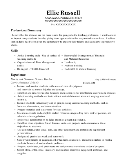 Family and Consumer Science Teacher resume template New Mexico
