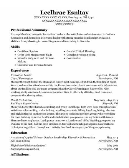Recreation Leader resume format New Mexico