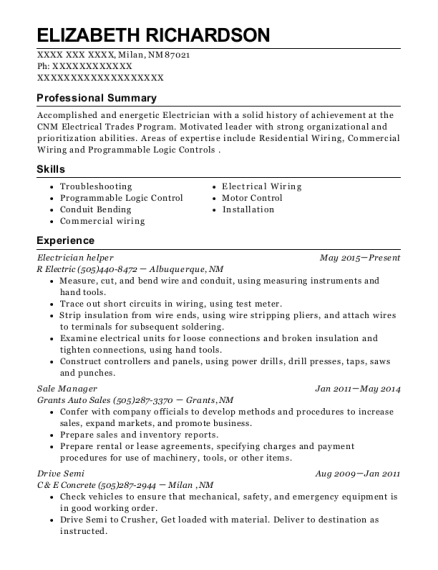 Electrician Helper resume format New Mexico