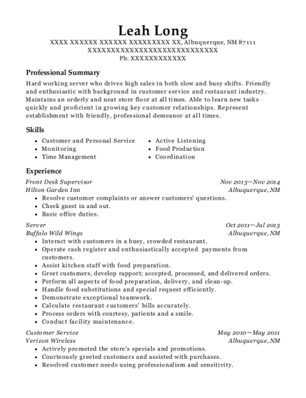 Front Desk Supervisor resume template New Mexico