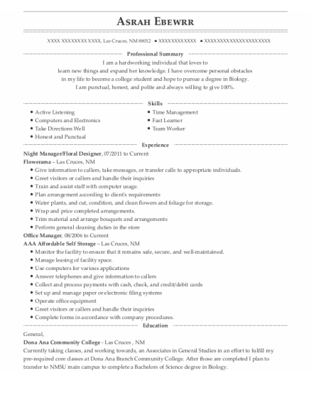 Night Manager resume template New Mexico