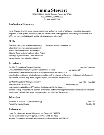 Certified Occupational Therapist Assistant resume sample New Mexico