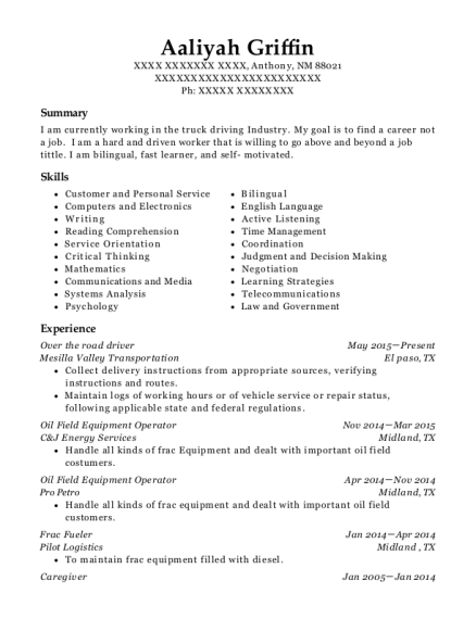Over the road driver resume example New Mexico