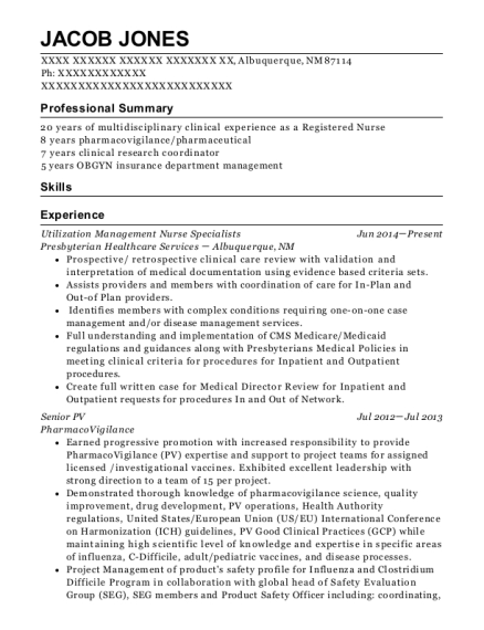 Utilization Management Nurse Specialists resume template New Mexico