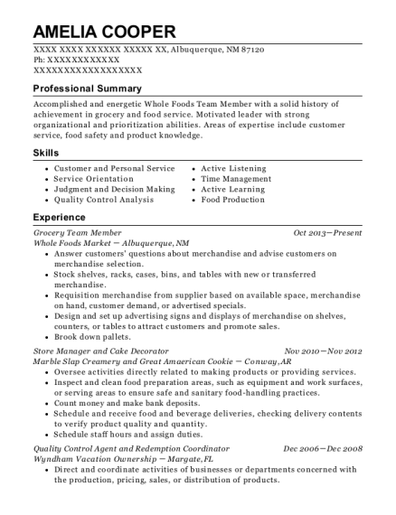 Grocery Team Member resume template New Mexico