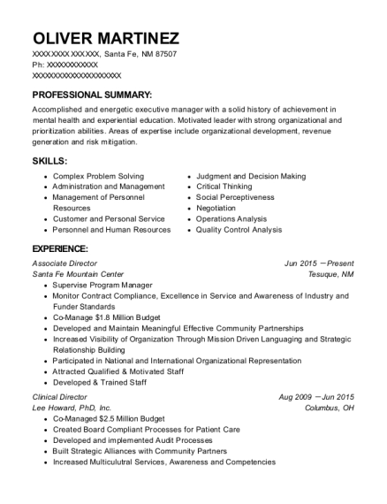 Associate Director resume example New Mexico