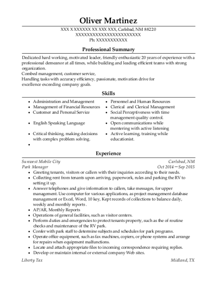 Park Manager resume template New Mexico