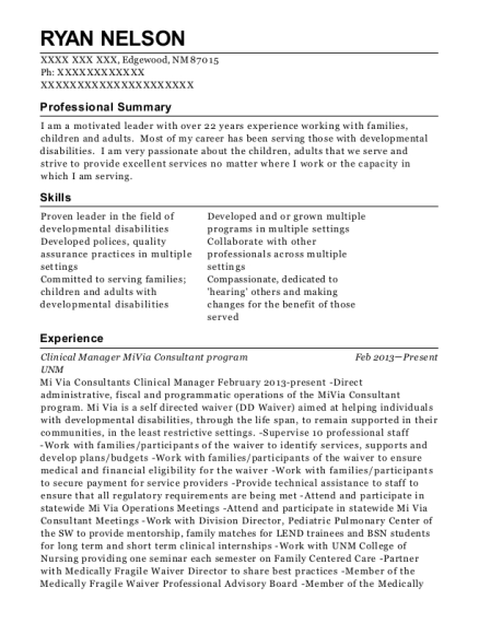 Clinical Manager MiVia Consultant program resume template New Mexico