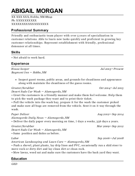 House keeper resume sample New Mexico