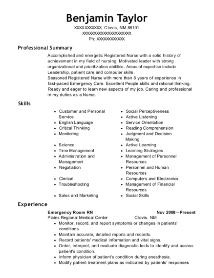 Emergency Room RN resume example New Mexico