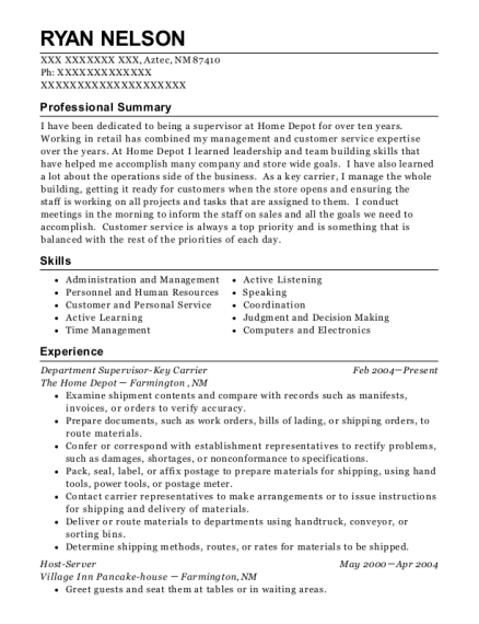 Department Supervisor Key Carrier resume template New Mexico