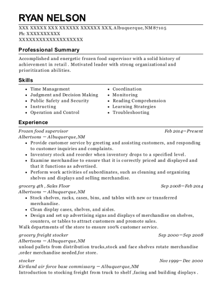 Frozen food supervisor resume format New Mexico