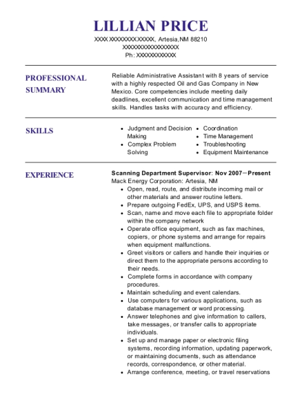 Scanning Department Supervisor resume format New Mexico