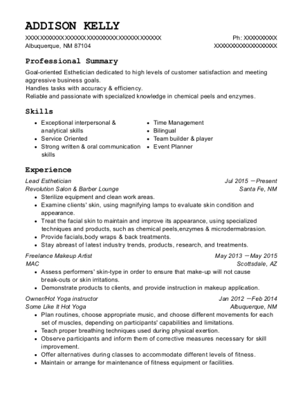 Lead Esthetician resume template New Mexico