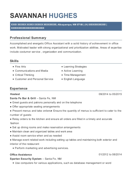 Hostest resume format New Mexico