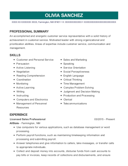 Licensed Sales Professional resume sample New Mexico