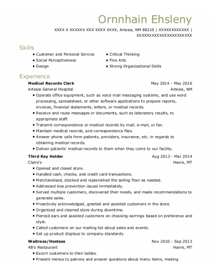 Medical Records Clerk resume example New Mexico