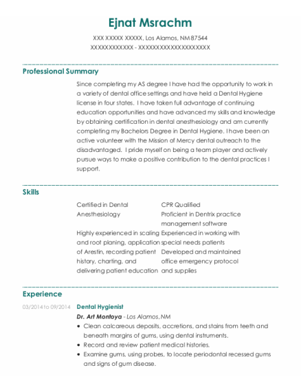 Dental Hygienist resume format New Mexico