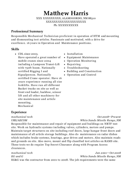 mechanical tech resume format New Mexico