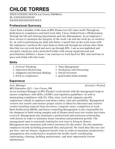Asst Manager resume sample New Mexico