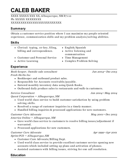 Book keeper resume example New Mexico