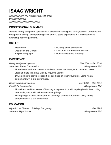 Heavy Equipment Operator resume sample New Mexico