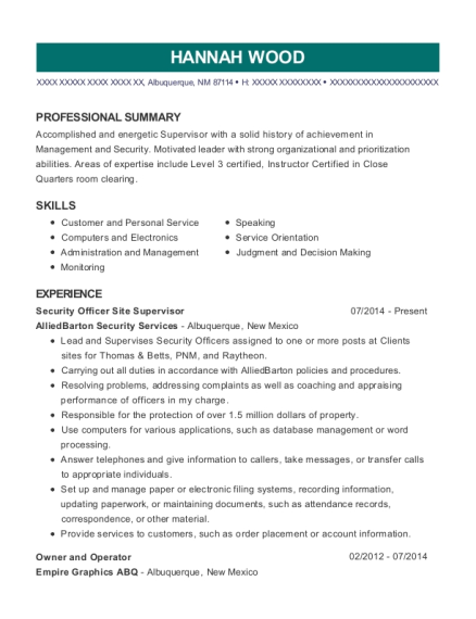 Security Officer Site Supervisor resume example New Mexico