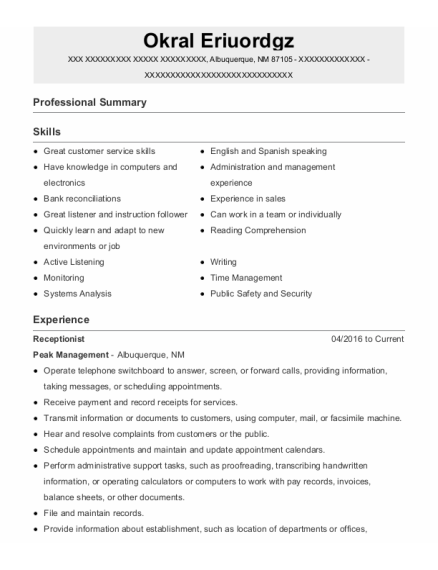 Leasing Agent resume format New Mexico