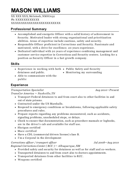 Transportation Specialist resume example New Mexico