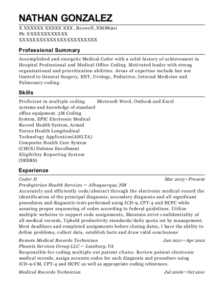 Coder II resume format New Mexico