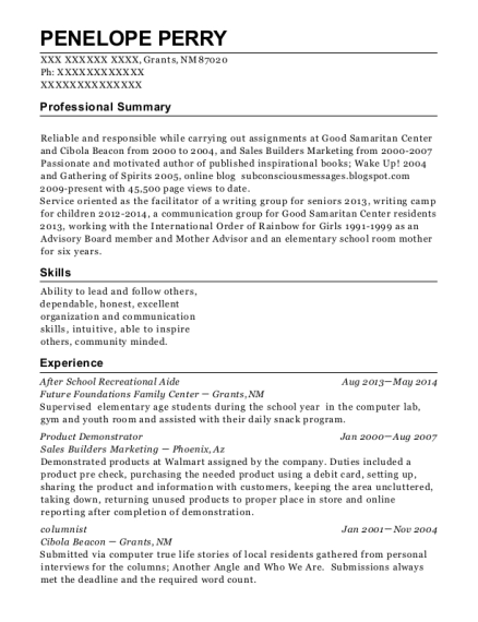 After School Recreational Aide resume sample New Mexico