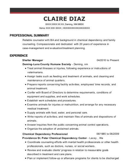 Shelter Manager resume sample New Mexico